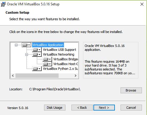 Install VirtualBox on Windows 10 - Custom Setup