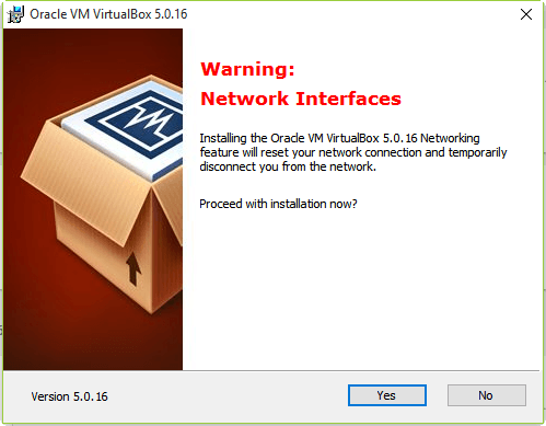 Install VirtualBox On Windows 10 - Network Connection Disconnected Notification