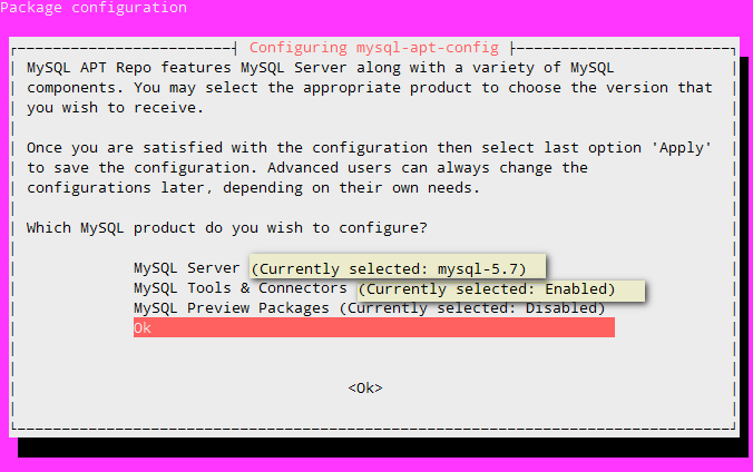 Install MySQL on Ubuntu 16.04 - Confirm selections