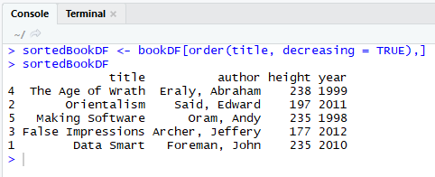Order A Data Frame In R By Ascending or Descending